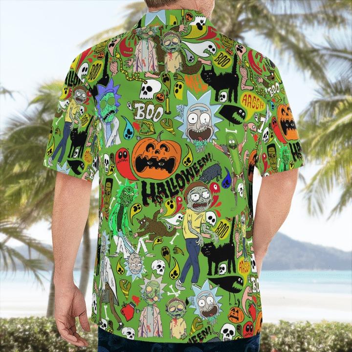 Halloween rick and morty pattern hawaiian shirt 2