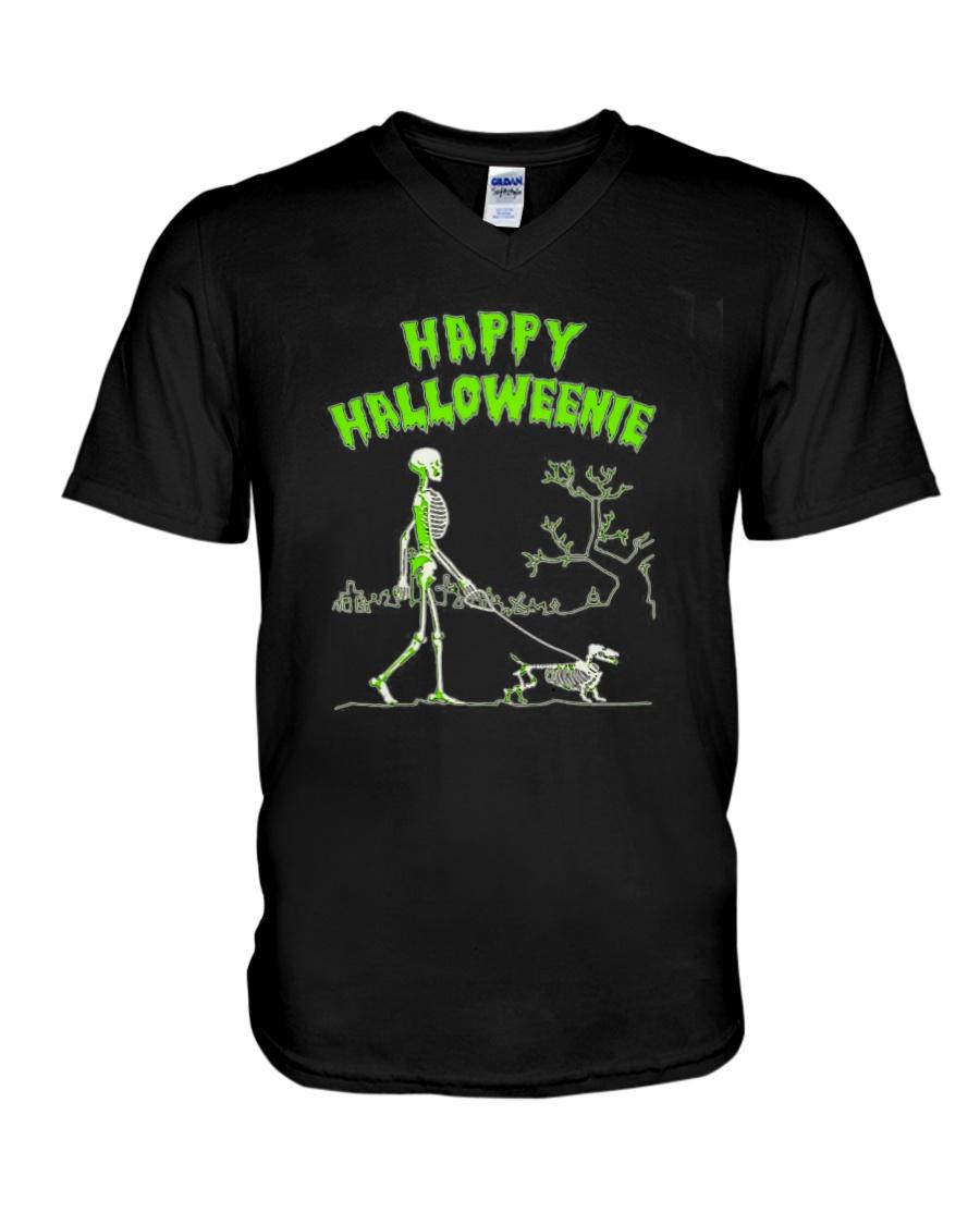 Happy Halloweenie Walking Skeleton With Dachshund Dog V-neck