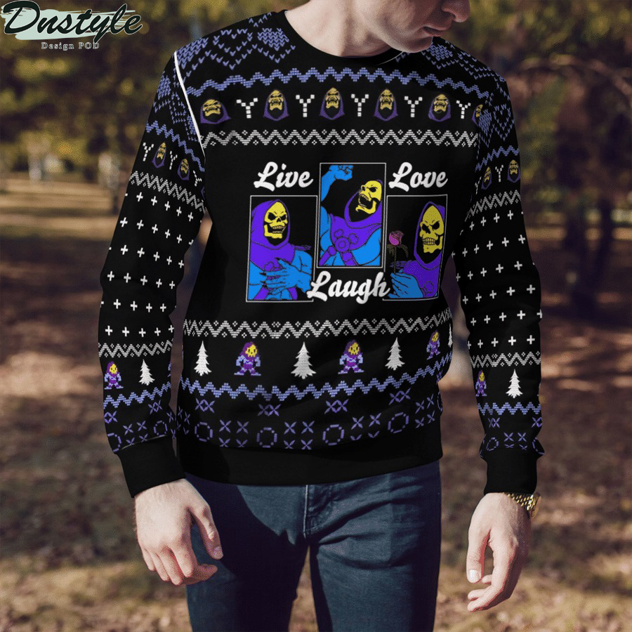 He-Man live love laugh ugly sweater