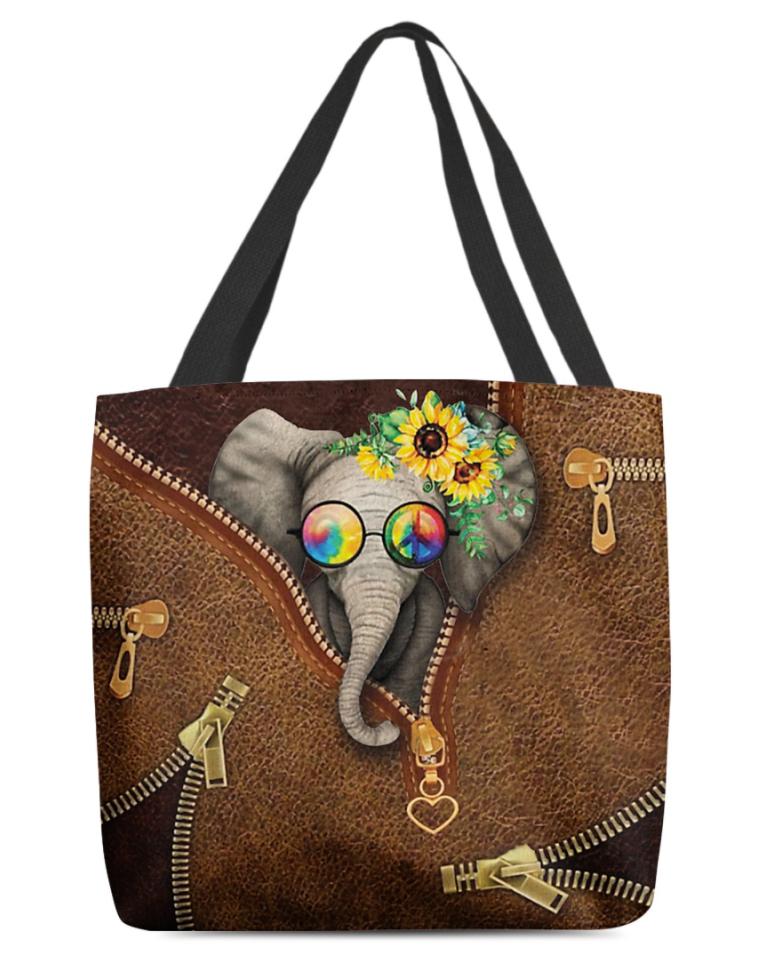 Hippie elephant tote bag