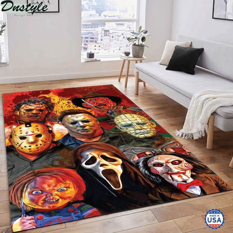Horror movie characters area rug