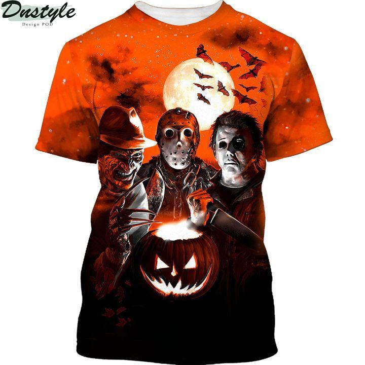 Horror night Michael Myers Freddy Krueger Jason Voorhees 3d printed hoodie and hawaiian shirt 1