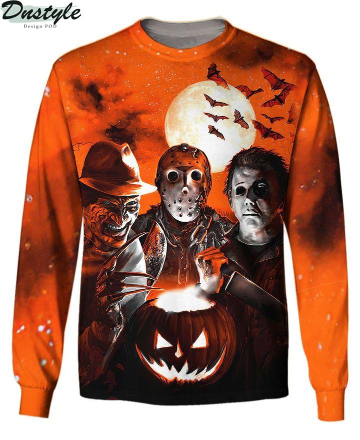 Horror night Michael Myers Freddy Krueger Jason Voorhees 3d printed hoodie and hawaiian shirt 2