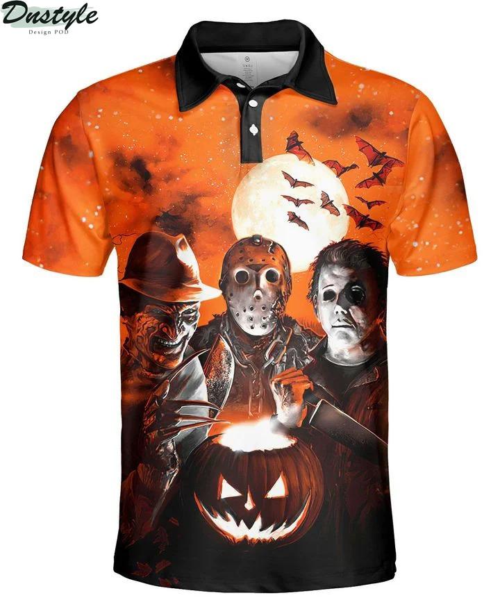 Horror night Michael Myers Freddy Krueger Jason Voorhees 3d printed hoodie and hawaiian shirt 3
