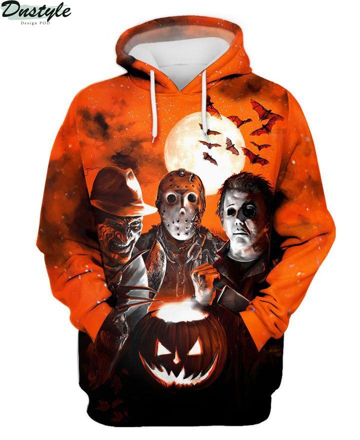 Horror night Michael Myers Freddy Krueger Jason Voorhees 3d printed hoodie and hawaiian shirt 4