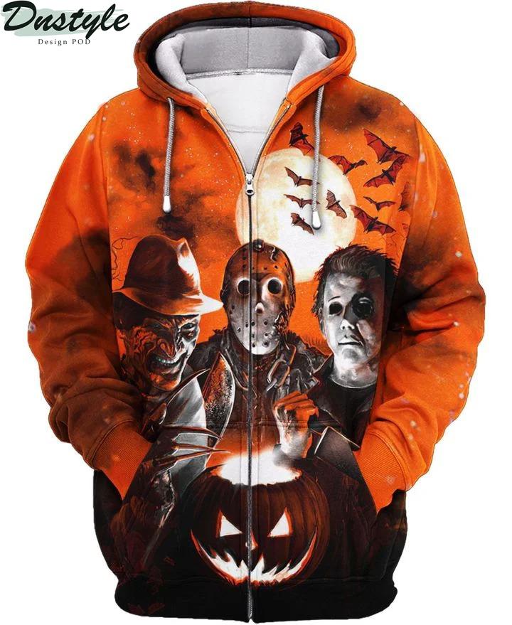 Horror night Michael Myers Freddy Krueger Jason Voorhees 3d printed hoodie and hawaiian shirt