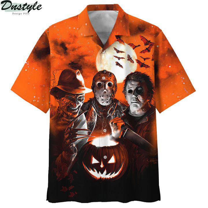 Horror night Michael Myers Freddy Krueger Jason Voorhees 3d printed hoodie and hawaiian shirt 5