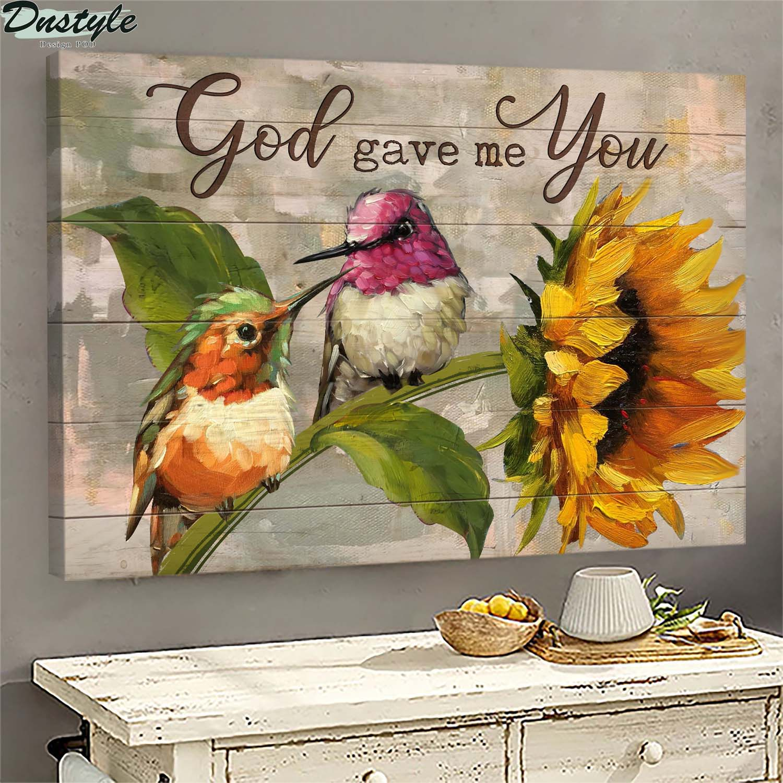 Hummingbird god gave me you jesus sunflower canvas