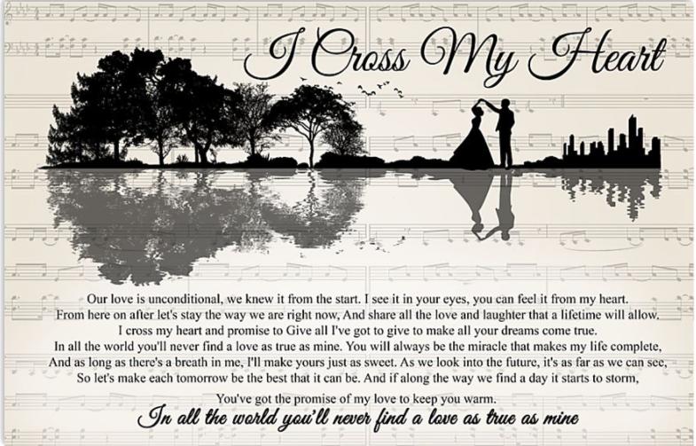 I cross my heart lyric poster