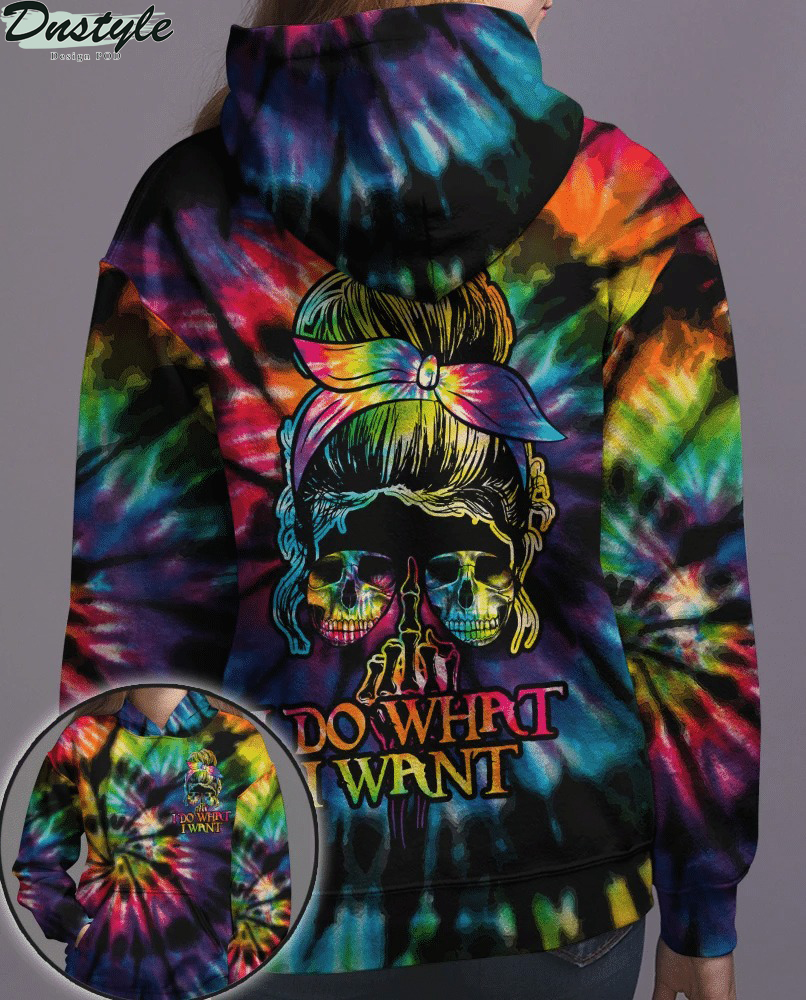 I do what i want skull tie dye girl 3d all over printed hoodie