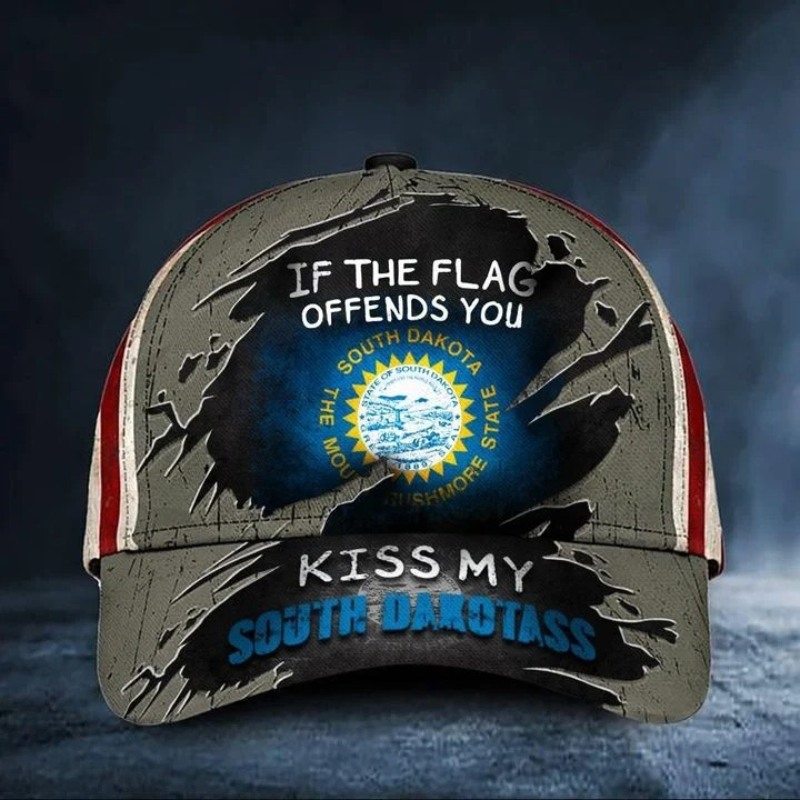 if the flag offends you kiss my South Dakotass classic cap hat