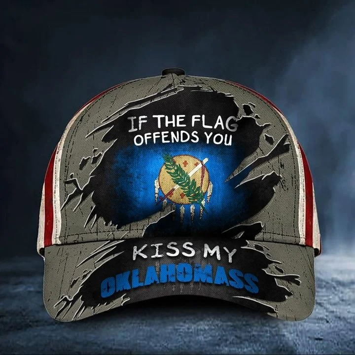 If the flag offends you kiss my oklahoma classic cap hat
