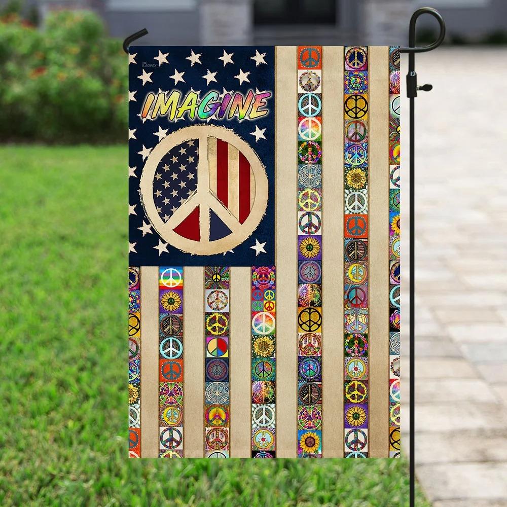 Imagine Peace Sign Hippie Flag 2