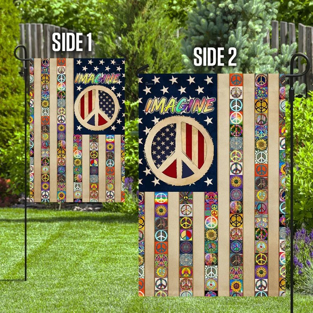 Imagine Peace Sign Hippie Flag 3