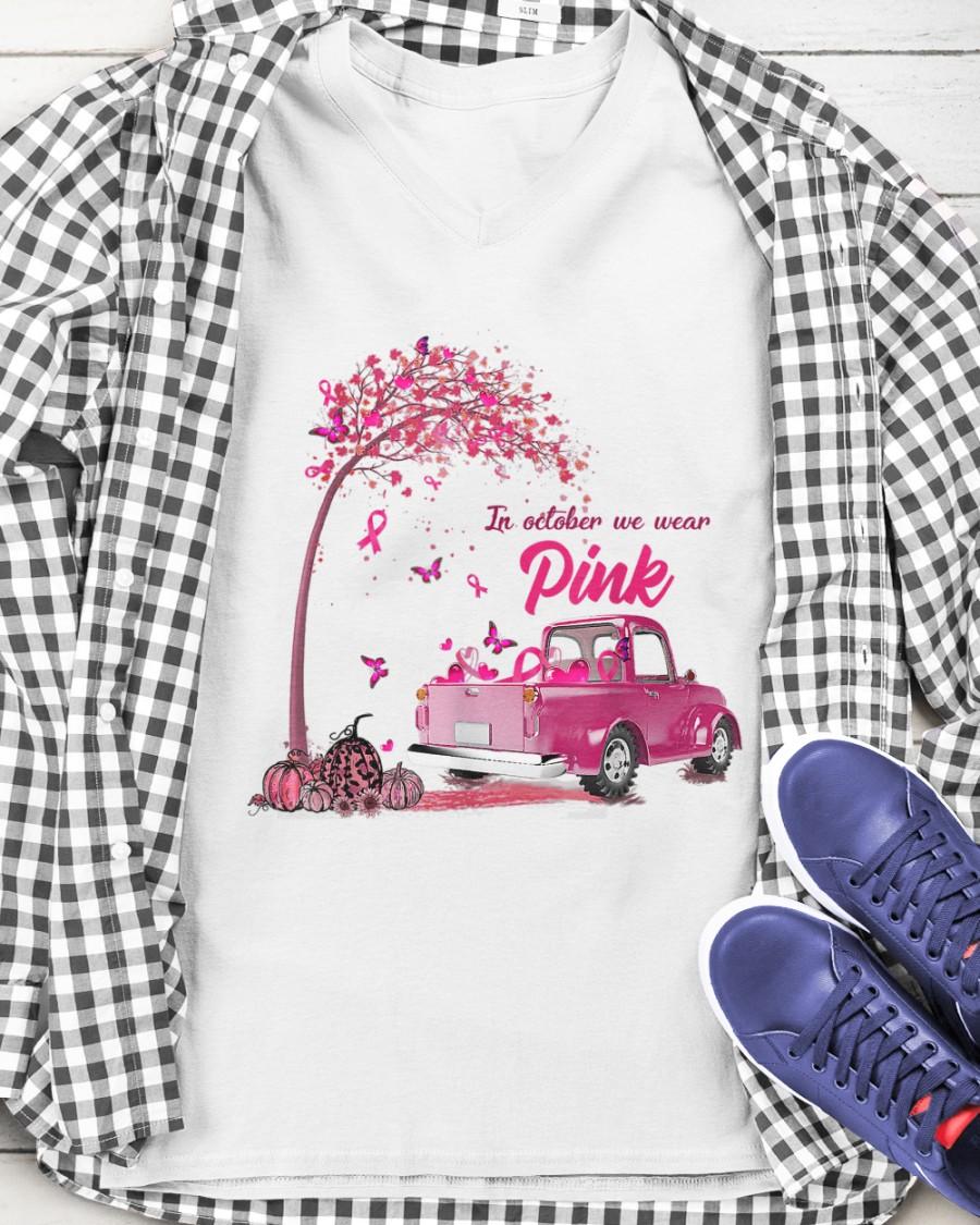 In october we wear pink breast cancer awareness v-neck