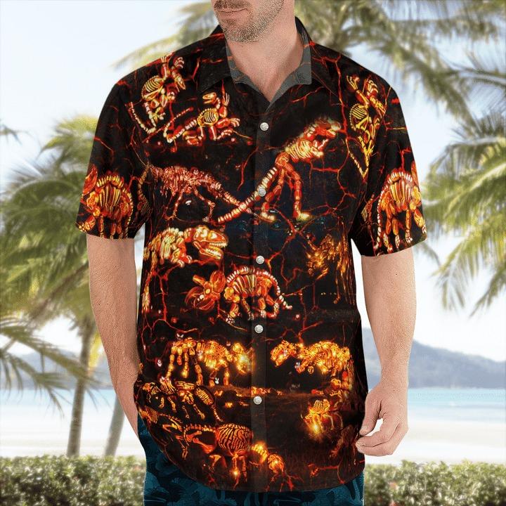 In to the park dinosaurs halloween hawaiian shirt 1