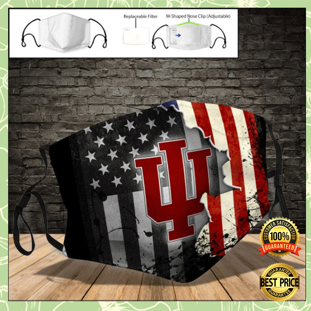 Indiana Hoosiers American flag face mask