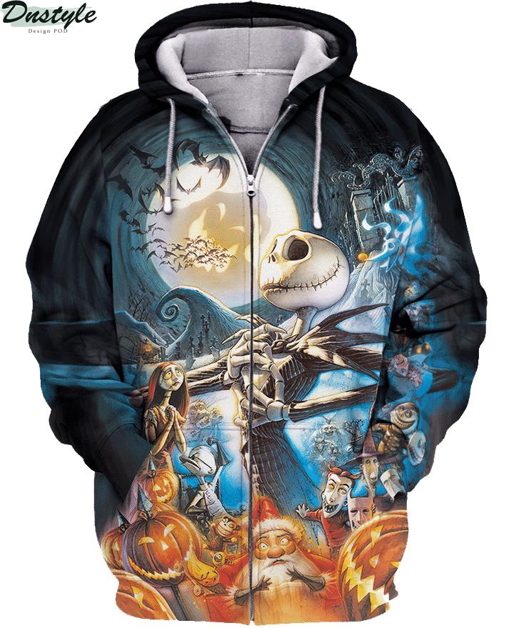 Jack skelington halloween 3d printed hoodie and hawaiian shirt