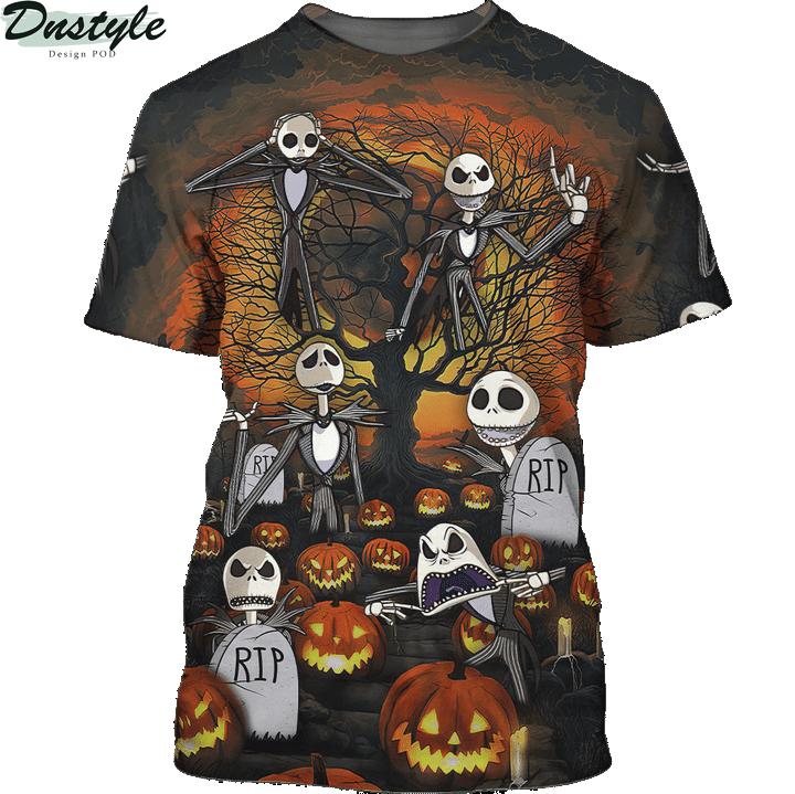 Jack skelington headstone halloween 3d printed hoodie and hawaiian shirt 1