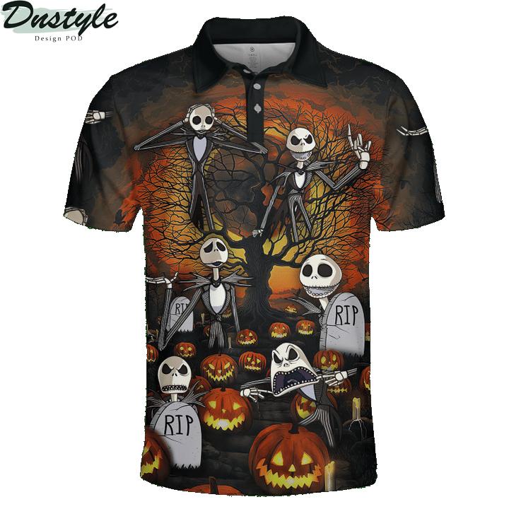 Jack skelington headstone halloween 3d printed hoodie and hawaiian shirt 2
