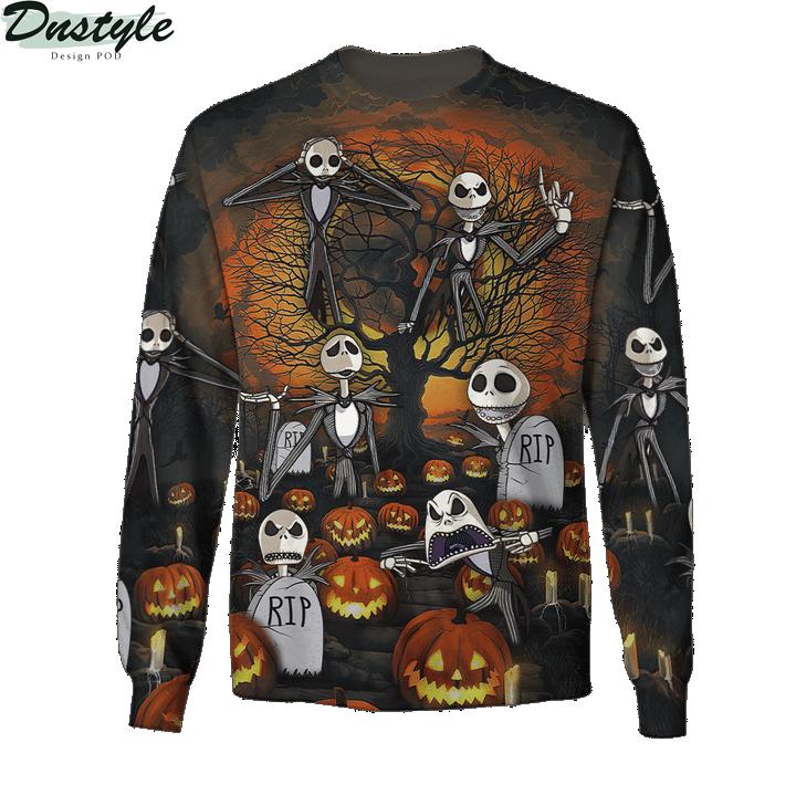 Jack skelington headstone halloween 3d printed hoodie and hawaiian shirt 3