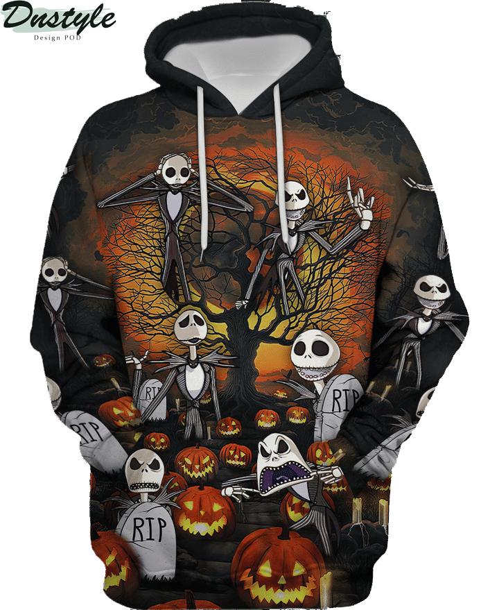 Jack skelington headstone halloween 3d printed hoodie and hawaiian shirt