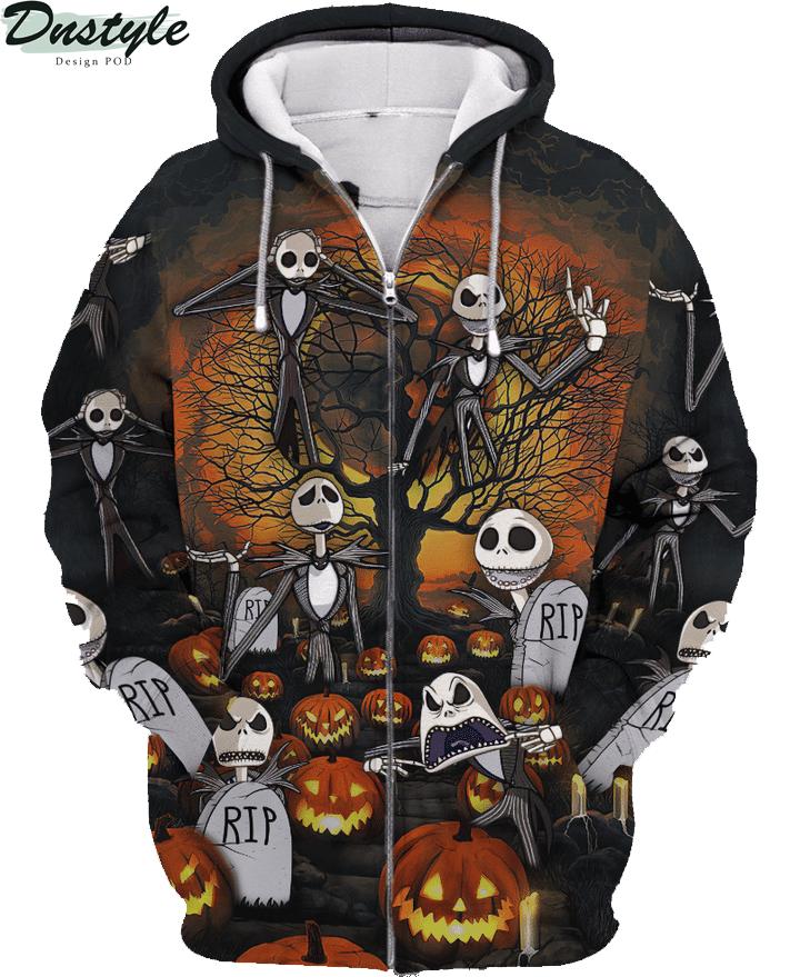 Jack skelington headstone halloween 3d printed hoodie and hawaiian shirt 5