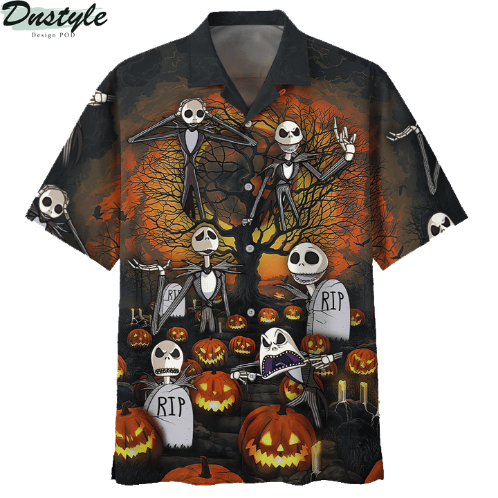 Jack skelington headstone halloween 3d printed hoodie and hawaiian shirt 4