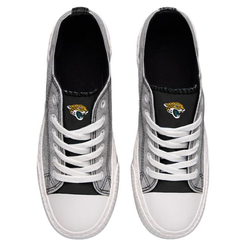 Jacksonville jaguars NFL glitter low top canvas shoes 2