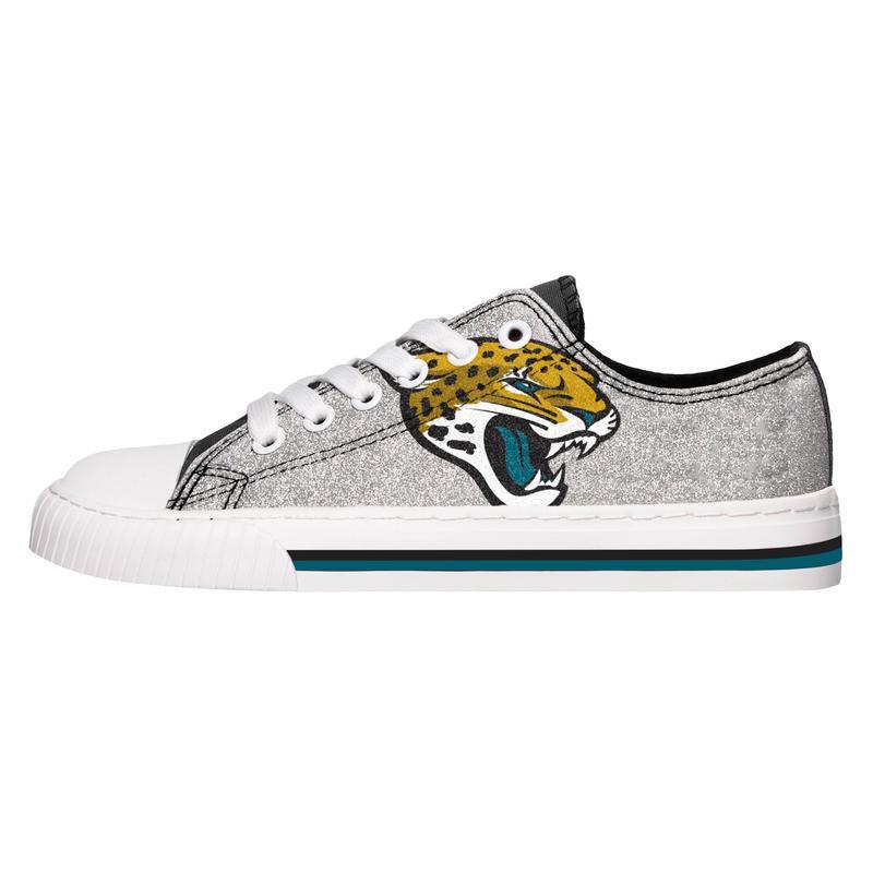 Jacksonville jaguars NFL glitter low top canvas shoes 1
