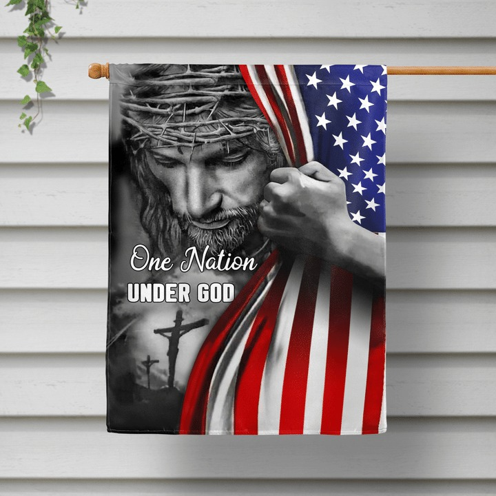 Jesus one nation under god house and garden flag 1