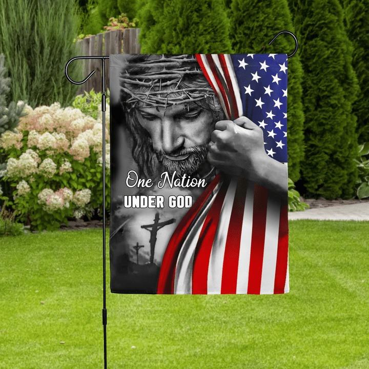Jesus one nation under god house and garden flag 2