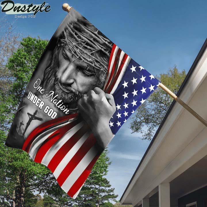 Jesus one nation under god house and garden flag
