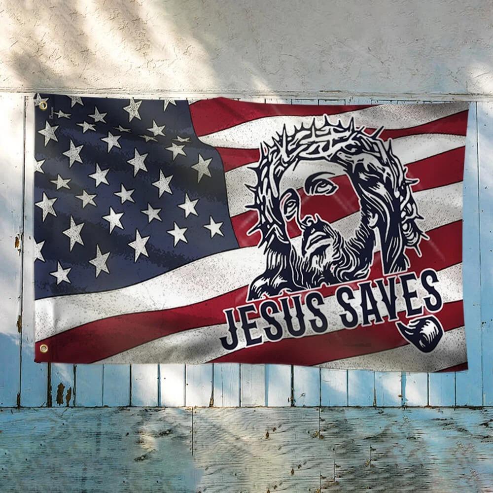 Jesus saves american flag 1