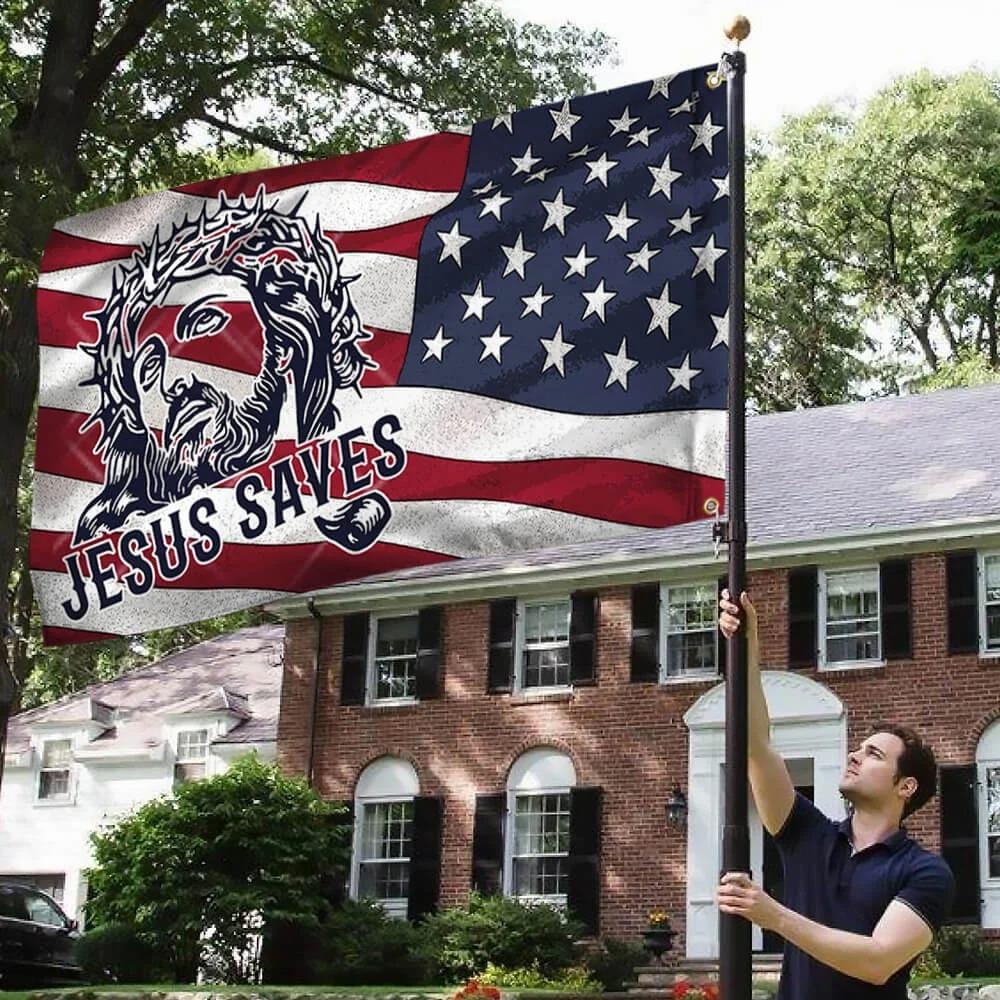 Jesus saves american flag 2