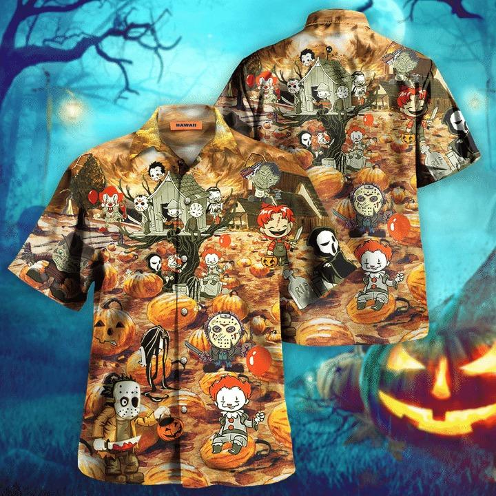 Killing by the pumpkin patch halloween hawaiian shirt 2