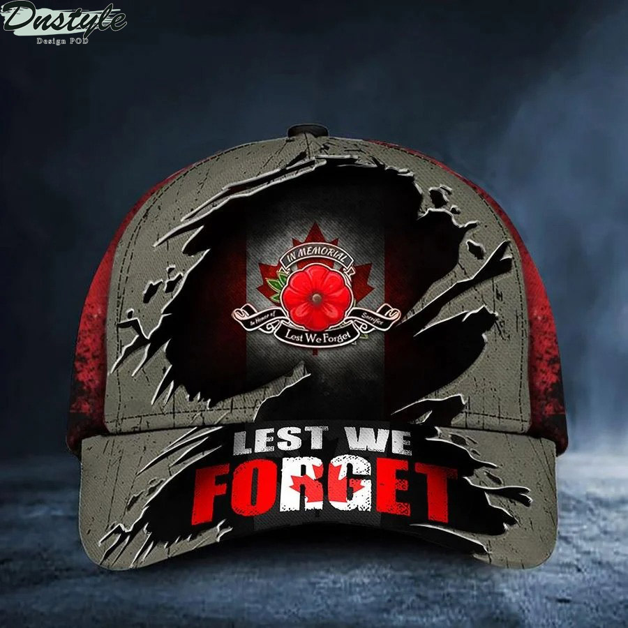 Lest We Forget Poppy Canada Flag Remembrance Day Hat