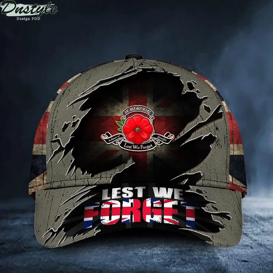 Lest We Forget Uk Poppy Flag Hat Patriotic Honoring Remembrance Day