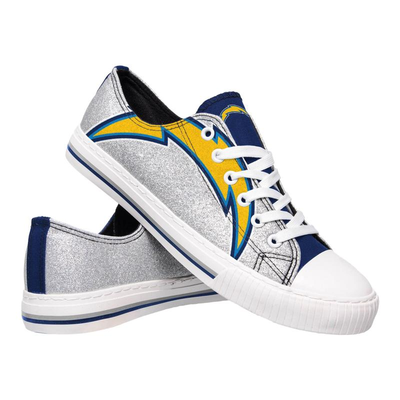 Los angeles chargers NFL glitter low top canvas shoes