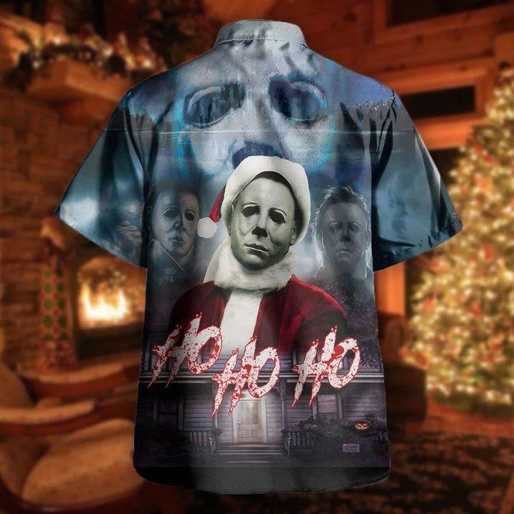 Michael myers ho ho ho this is my happy christmas face hawaiian shirt 1