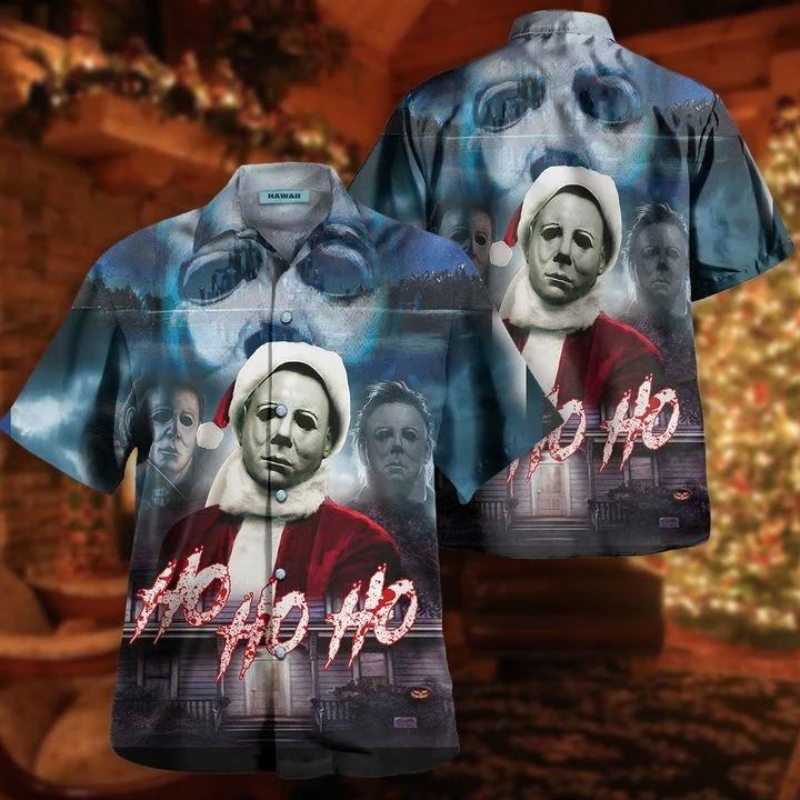 Michael myers ho ho ho this is my happy christmas face hawaiian shirt 2