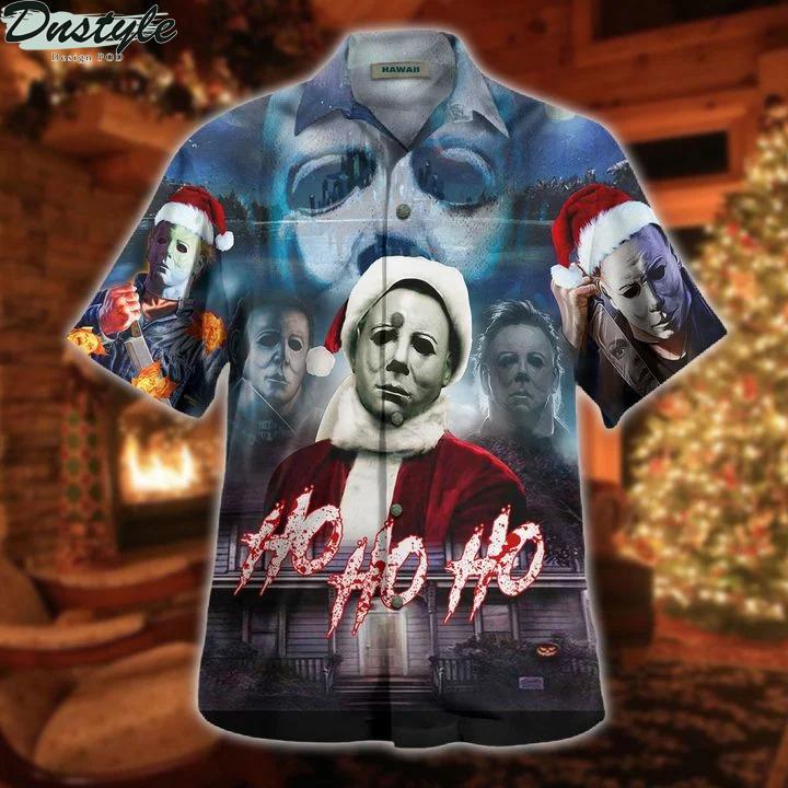 Michael myers ho ho ho this is my happy christmas face hawaiian shirt