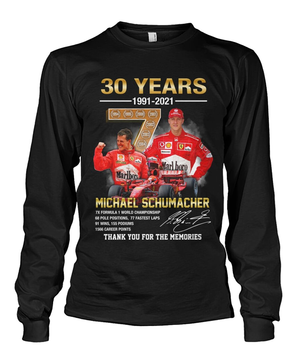 Michael schumacher 30 years thank you for the memories long sleeve