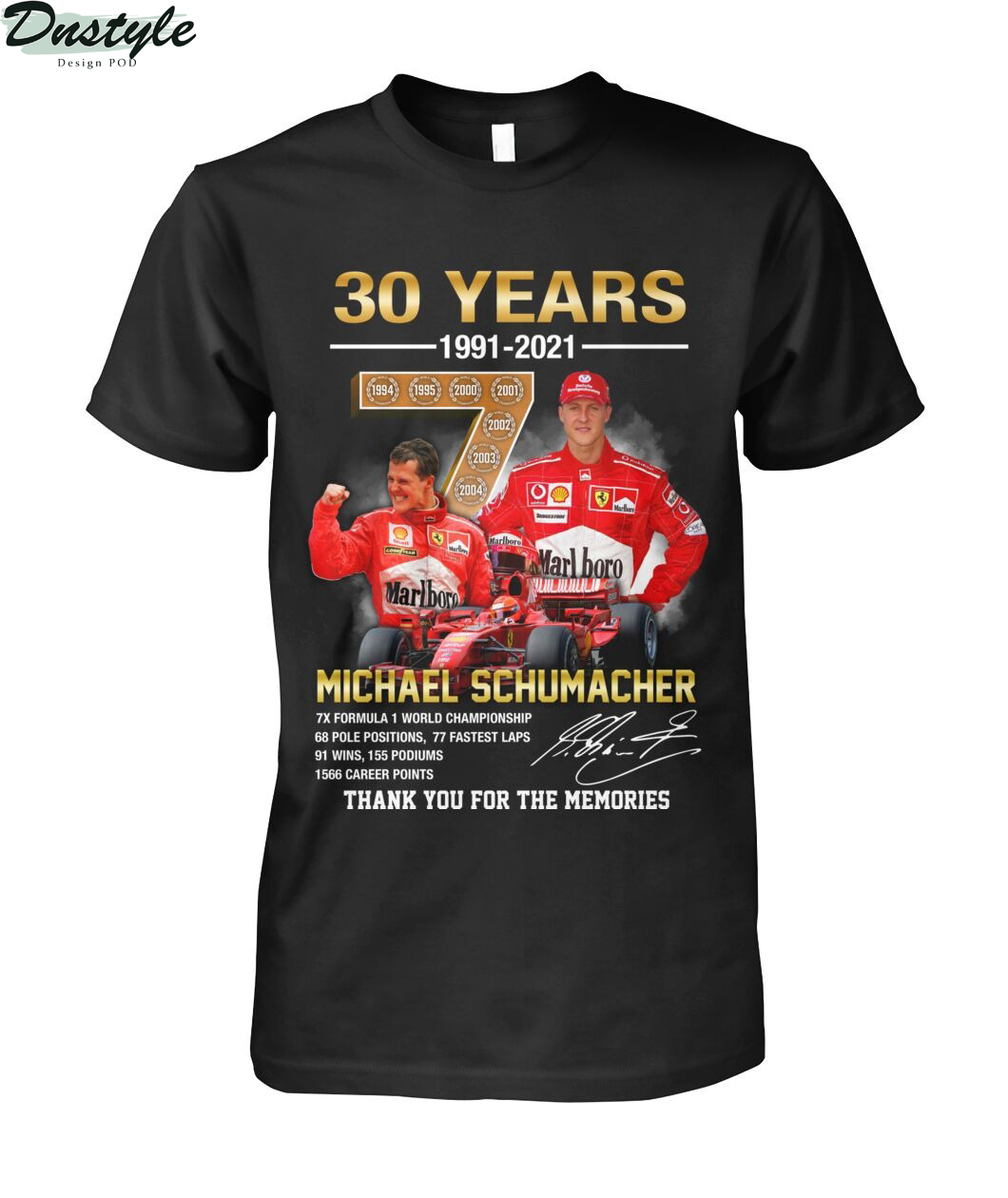 Michael schumacher 30 years thank you for the memories shirt