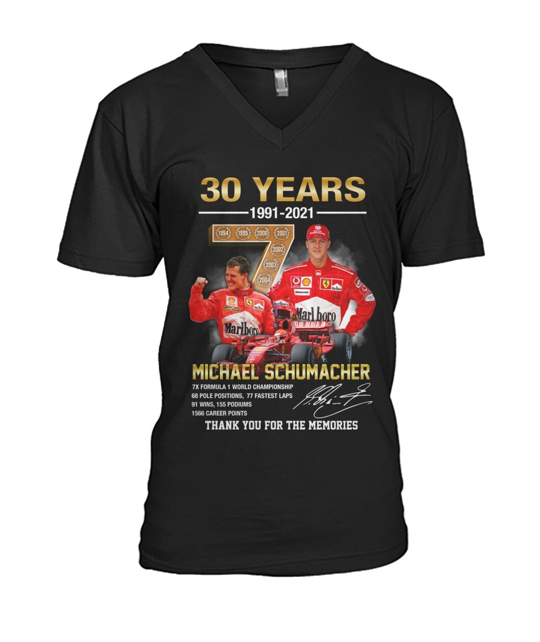 Michael schumacher 30 years thank you for the memories v-neck