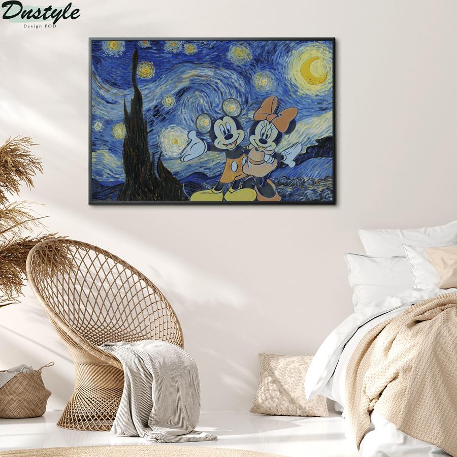 Mickey and minnie starry night van gogh poster 1