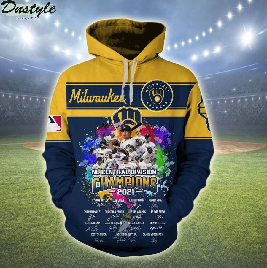 Milwaukee brewers NL central division champions 2021 all over print hoodie