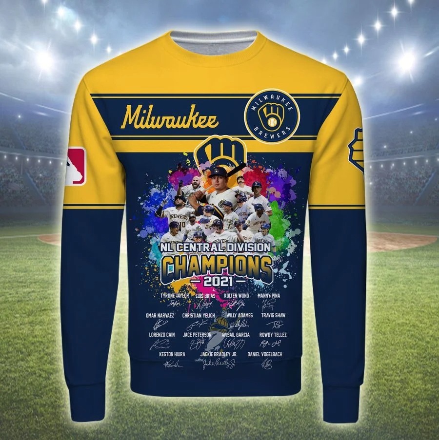 Milwaukee brewers NL central division champions 2021 all over print long sleeve