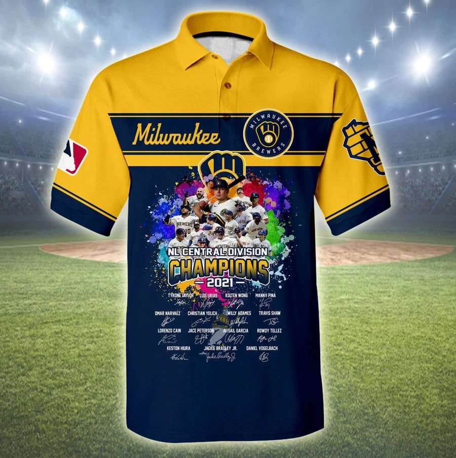Milwaukee brewers NL central division champions 2021 all over print polo shirt
