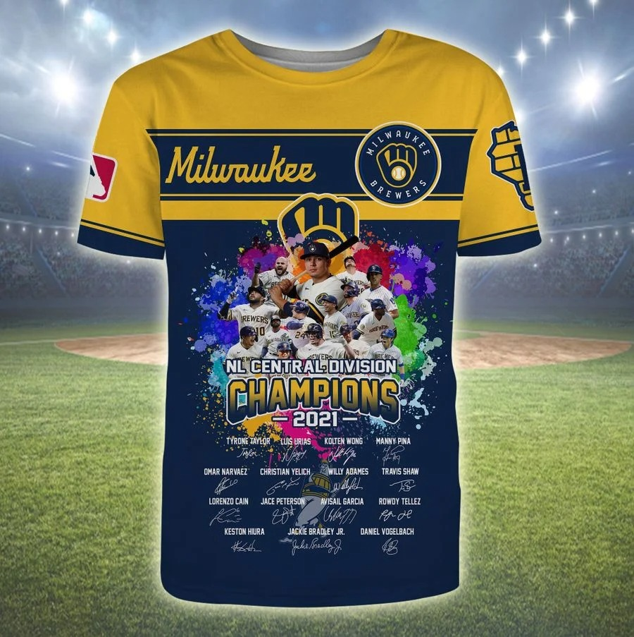 Milwaukee brewers NL central division champions 2021 all over print shirt